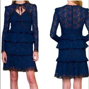 ML Monique Lhuillier Tiered Lace Dress  Blue Black